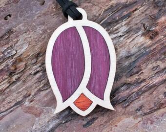 Purple Tulip Pendant Necklace