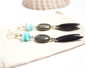 Mothers day earrings - amazonite, pyrite and black tassels - goldfilled - gift