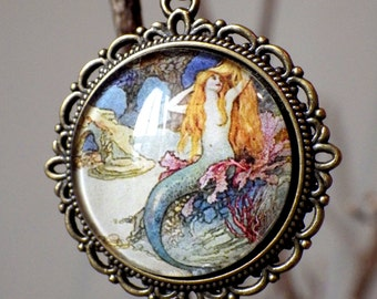 Vintage Mermaid Turquoise Retro Art Cameo 1 Inch Round Glass Dome Cabochon necklace Goddess Jewelry Sea Nymph Little Mermaid Pendant Gift