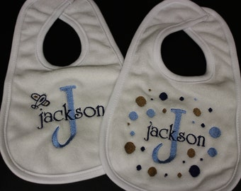Personalized Baby bib set of 2 for boy or girl