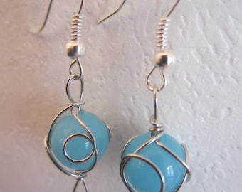 Turquoise Glass Wire Wrapped Earrings
