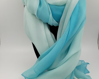 Blue to White Ombre Silk Scarf