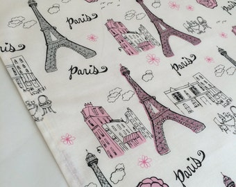 Paris Table Runner or Accent Table Mat: Pink and Black Paris Design Runner, Eiffel Tower Table Runner