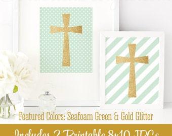 Gold Glitter Cross Wall Art - Seafoam Green White - Set of 2 Printable Signs Baby Girl Boy Baptism Decorations, Religious Christian Nursery