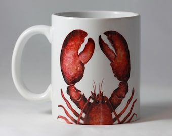 Lobster Coffee Mug, Red Lobster Mug, 11oz  Maine Lobster watercolor art mug