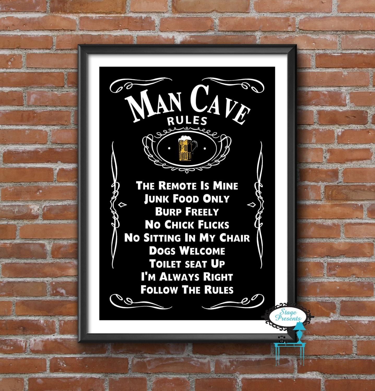 Man Cave Subway Art : Man cave rules sign digital download wall art