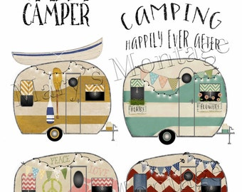 Retro Camper, clipart, PNG, digital collage sheet, 8 x 10 printable