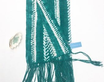 Mud Cloth! Vintage shibori tie dye African textile, Teal Green and White with amazing braided fringe!