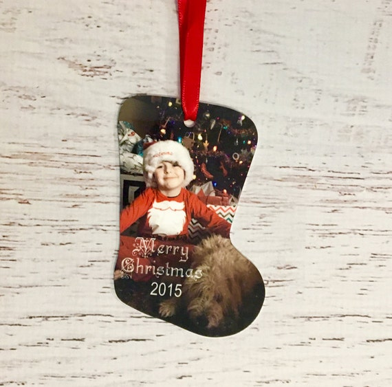 Custom Stocking Personalized Ornament with Photo