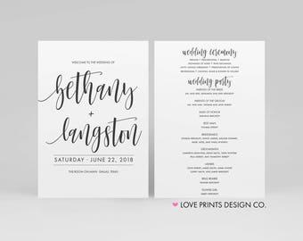 Wedding Ceremony Program, Wedding Program Template, Printable Wedding Program, Double Sided Wedding Program, Order of Events