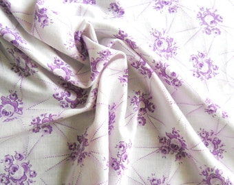 vintage floral fabric french vintage fabric  antique floral fabric lilac fabric cotton fabric 194