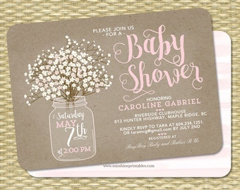 Rustic Baby Shower Invitation, Baby Girl, Kraft Mason Jar Invite, Baby's Breath Baby Shower Invite, Baby Sprinkle Invitation