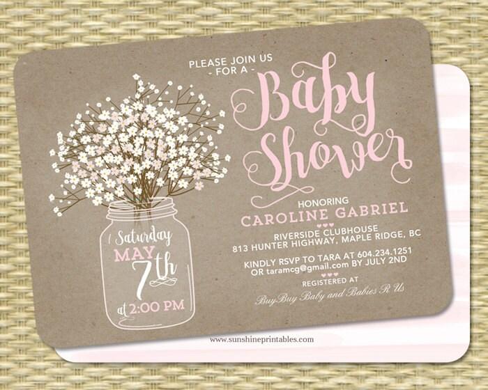 Rustic baby shower invitation baby girl kraft mason jar zoom stopboris Images