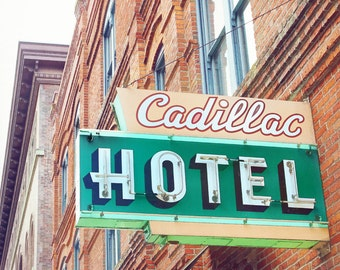 Cadillac Hotel, Seattle photography, retro neon sign, retro hotel sign, green sign, wall art, fine art print, 12 x 12