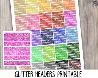 Glitter Headers printable planner stickers gold colorful sparkle instant download printable stickers for use with Erin Condren LifePlannerTM