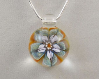 Hand Blown Glass Necklace - Boro Focal Bead- Visionary Glass Arts