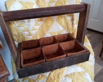 Vintage Handmade Wooden berry basket with 6 original berry baskets