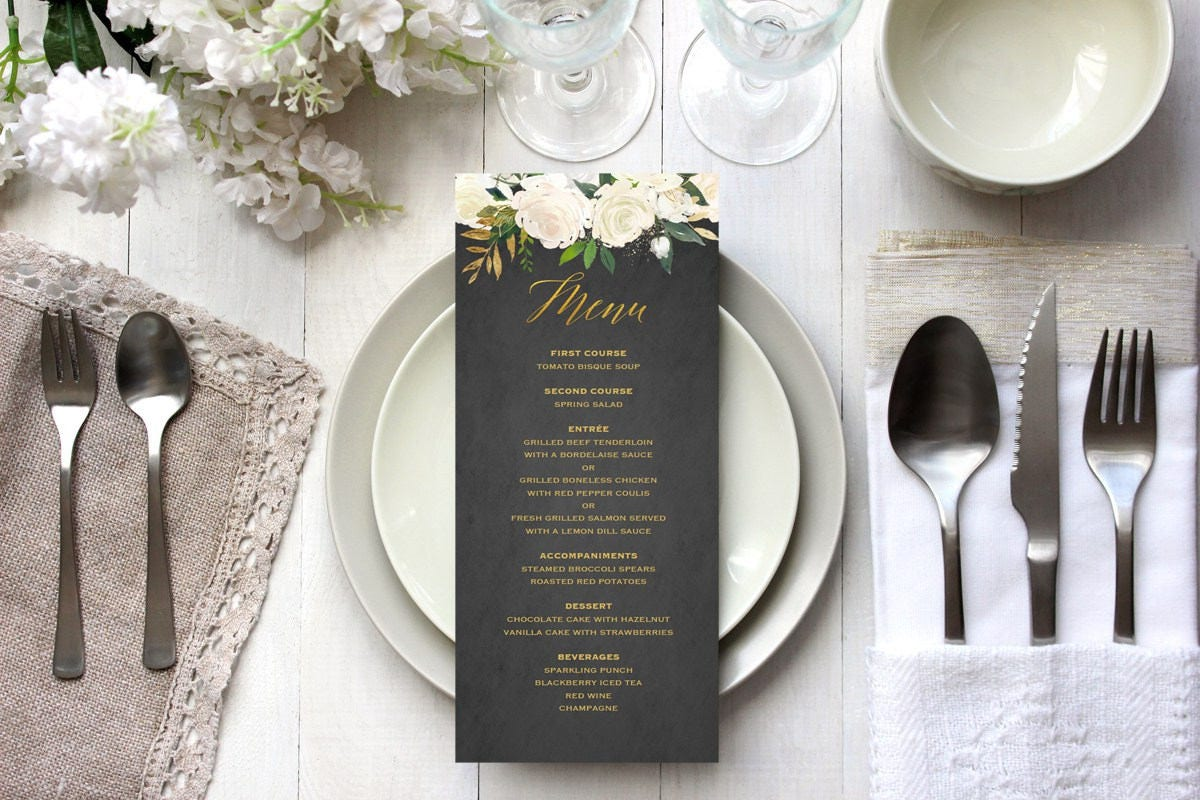 Gold and Ivory Wedding Menu Template Printable Elegant Floral
