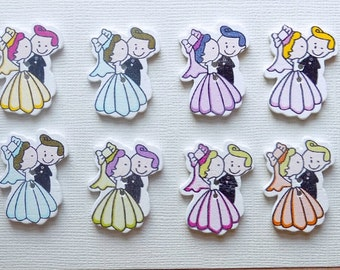 8 Bride and Groom Wooden Buttons - #SB-00010