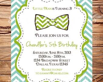 Little Man Birthday Invitation, Birthday Invite. Bowtie, Chevron Stripes, Yellow, Green, Brown, Blue, Little Man Birthday Party, 114