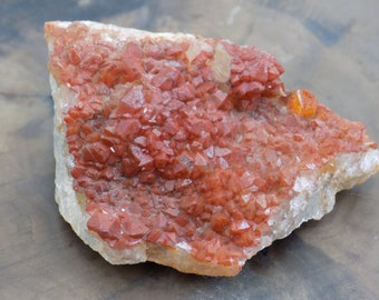 Red Quartz - Quartz Crystal - Red Quartz Druzy - Hematite Quartz - Crystal Specimen - Natural Crystal - Healing Crystal - Altar Tools.