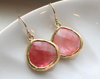 Large Coral Earrings Gold Plated Large Coral Pink Pendant - Wedding Earrings - Bridal Earrings - Bridesmaid Earrings - Coral Jewelry