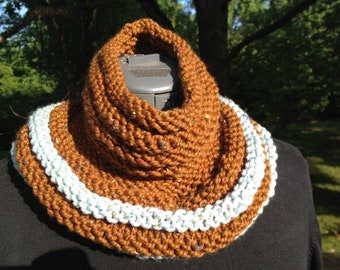 Hand-knit Wool Cowl -- Cocoa and Robin's Egg Blue