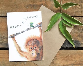 Greeting Card_Orangutan Bday_Happy Birthday Cheeky Animal Card