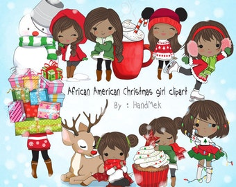 African American Christmas girl Clip art instant download PNG file - 300 dpi