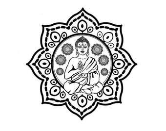 Mandala with Buddha Temporary Tattoo