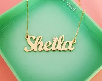 Personalized Necklace/Custom Made Necklace/Birthstone Necklace/Birthstone Jewelry/Gold Name Necklace/Personalized Gift/Shelia Necklace