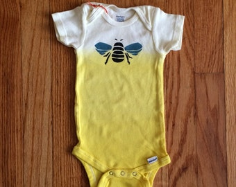 Yellow ombre dyed bumble bee onesie!