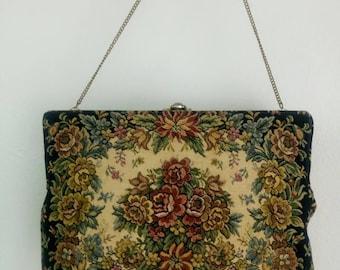 Vintage Antique Petit Point floral tapestry purse clutch bag