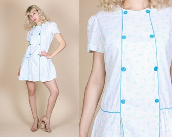 60s Drop Waist Dress - Large // Vintage Mod Floral Pleated Skirt Mini Dress