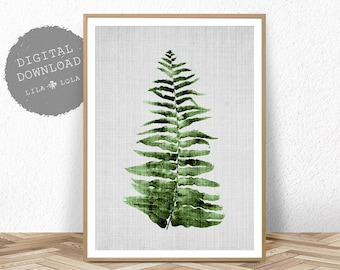 Botanical Print, Fern Leaf Wall Art, Printable Poster, Digital Download, Plant Leaf Printable, Tropical Decor, Botanical Poster