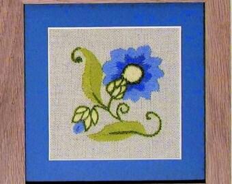 CW 423 Cornflower Starter beginner Crewel Embroidery Kit