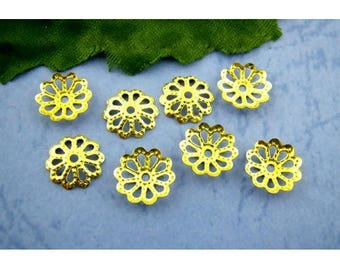 Set of 50 bead caps, filigree gold 9mm material: alloy