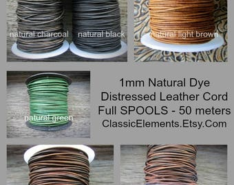 SPOOLS half mm Round Leather Cord, Full Spools, Leather Cord, .5mm Leather, Round Leather Cord, Natural Dye Leather, The Classic Bead,