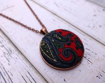 Fabric Pendant Necklace, Fabric Necklace, Pendant Necklace, Fabric Jewelry, Boho Necklace, Large Pendant, Copper, Paisley Perfection