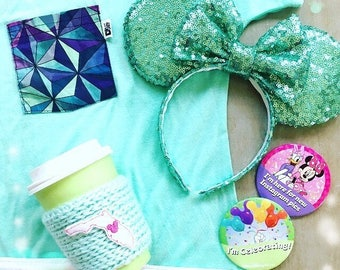 all over mint sequin mouse ears
