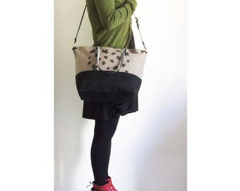 Screen Print Waxed Canvas Bag, Waced Canvas Bag, Waxed Canvas Tote, Crossbody Bag, Diaper Bag, Leather Straps