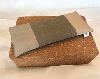 SILK, Taupe & Beige Stripe, Eye Pillow / Bag, Flax Seed, Organic Fill, Eye Compress, Warm / Cold, Eye Therapy, Headache Relief, Unscented