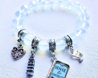 Jane Austen's Sense and Sensibility Beaded Charm Bracelet