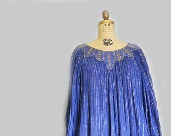 vintage Indian gauze dress semi sheer tent dress Large