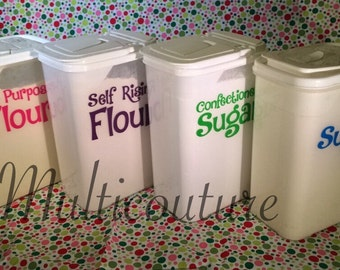 Decal: Kitchen Canister Vinyl decals, Flour decal , Sugar decal , Coffee decal, Tea decal , Pasta decal , Rice decal, Kitchen Canisters