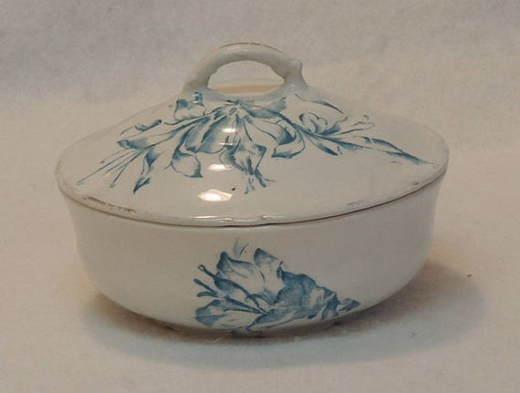 Antique Victorian Blue Transferware Porcelain Soap Dish W lid & Insert.. Anchor Pottery