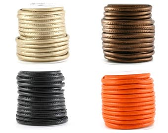 2, 5 or 10 m (artificial) stitched leather round 5 mm (light gold, orange, black or bronze)