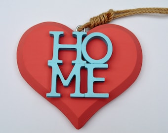 Home Wall Hanging Sign, Wooden Sign, Heart Sign, Coastal Home Decor, Coral Sign, Rope Sign