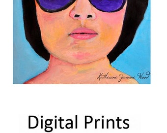 Woman Sunglasses Portrait Art Painting Print. Home Wall Decor. Woman Art Print. Gift for Women. The Swimmer