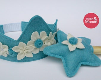 Winter Wool Dress up or pretend crown. Princess Crown for Costumes, parties, Birthday's, or Photos